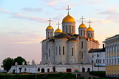 Dormition Cathedral in Vladimir at dramatic sunset, russian Village old town landscape - Monastery and churches – Ancient Vladimir - typical idyllic russian village, cityscape panorama, Vladimir oblast, Golden Ring, Russia