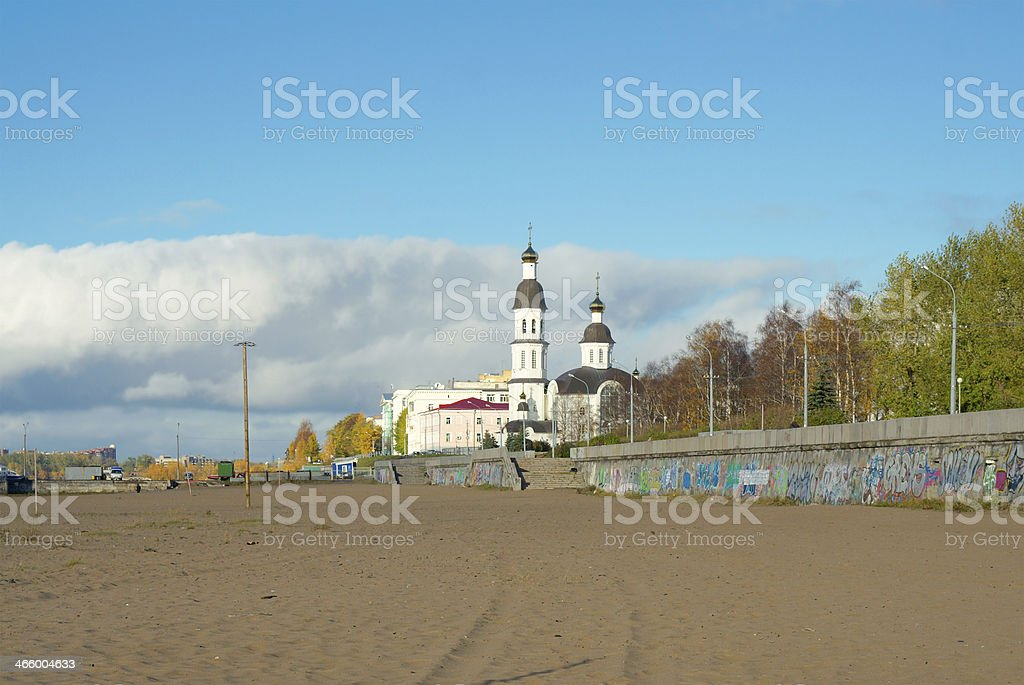 Dormition church (circa 1742-1744), Arkhangelsk, Russia stock photo