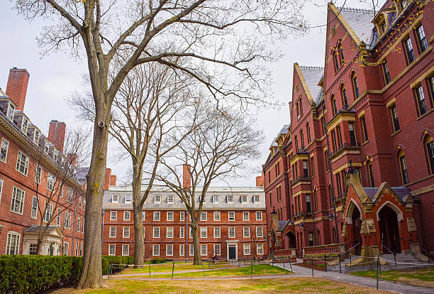Dormitories and Harvard Computer Society in Harvard Yard Cambridge, United States - April 29, 2015: Dormitories and Harvard Computer Society Building in Harvard Yard of Harvard University in Cambridge, Massachusetts, MA, USA. harvard university stock pictures, royalty-free photos & images