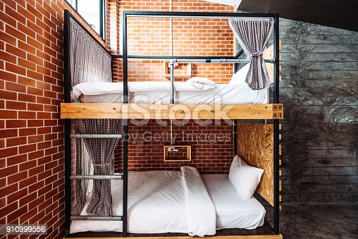 Beautiful modern interior and exterior of accommodation for travelers and backpackers in beach area where mostly young people stay for relaxing holiday. Architecture is mixture of concrete, wood, steel and glass, with open space concept. Property is made of eco-friendly materials.