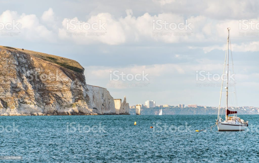 Dorset coastline with Bournemouth in the distance stock photo