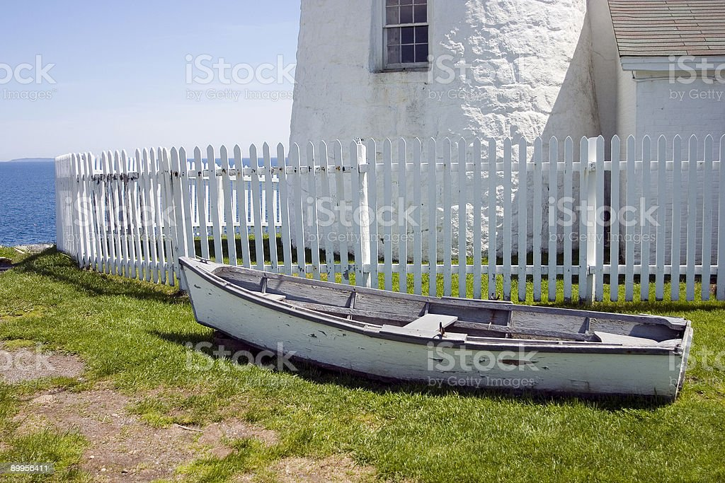 Dory at Pemaquid Point Lighthouse, Maine royalty-free stock photo