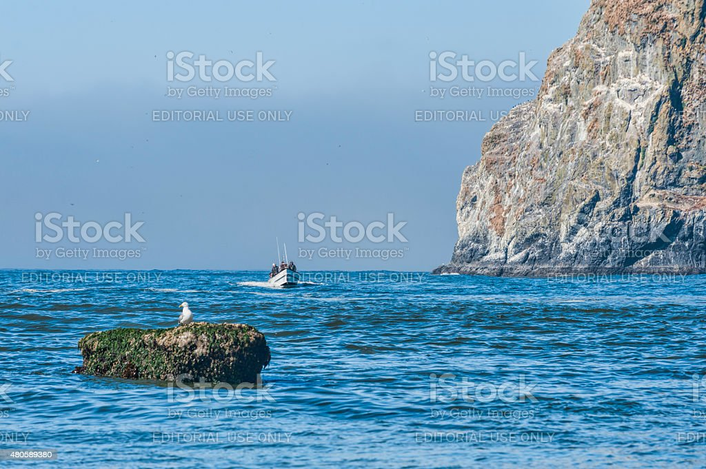 Dory board passes by Haystack rock stock photo