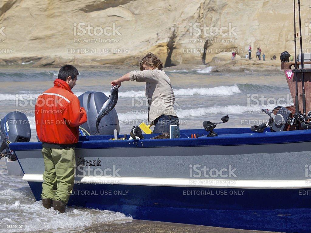 Dory Boat Fish Salmon Checking Cape Kiwanda Pacific City Oregon stock photo
