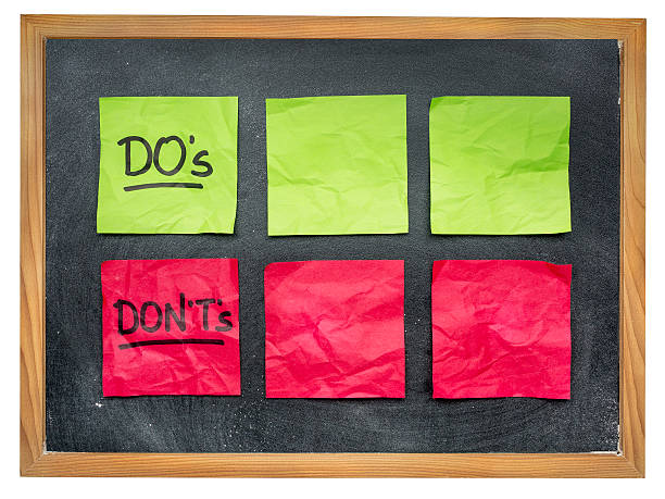 dos and donts on blackboard stock photo