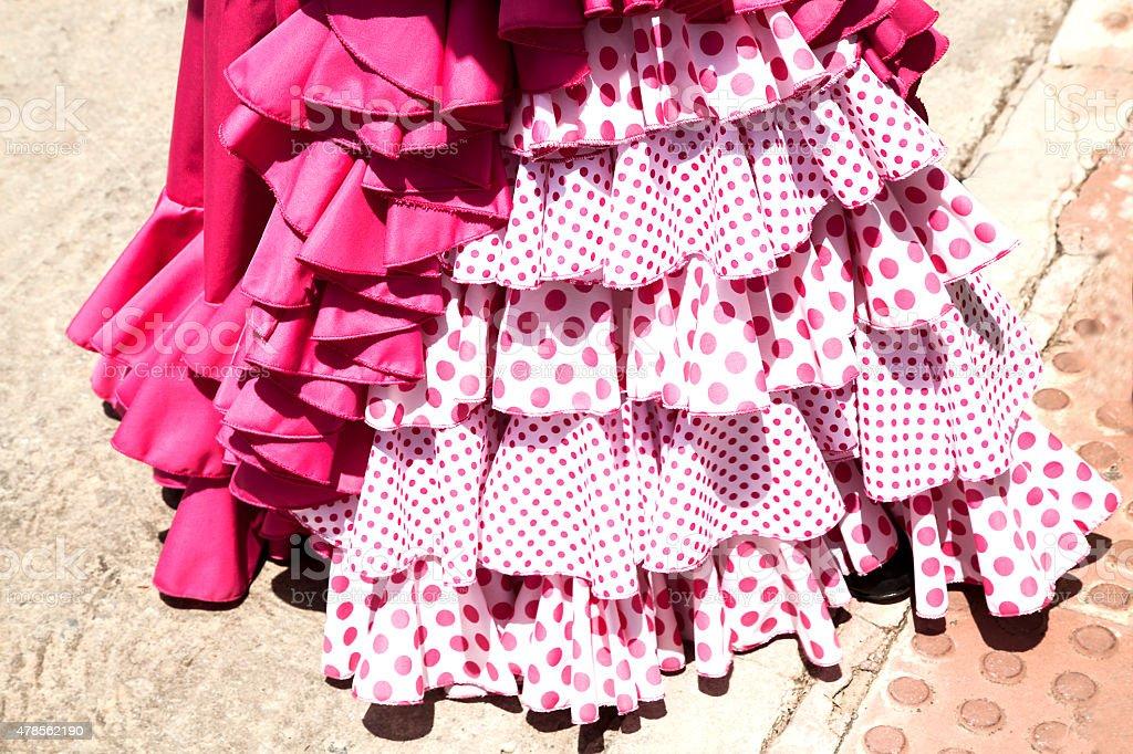 dos faldas de gitanas para la feria tipicas en  Andalucia stock photo