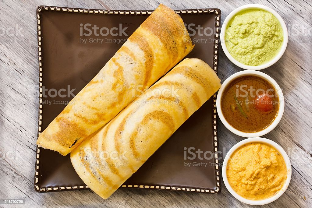 Dosa with Sambar and chutney, south Indian breakfast stock photo