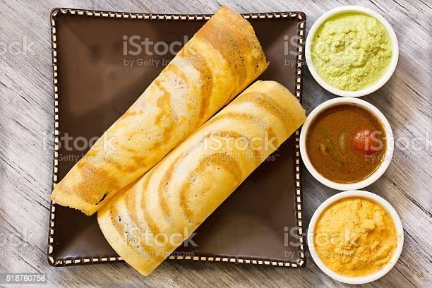 Masala Dosa with Sambar and chutney, south Indian breakfast