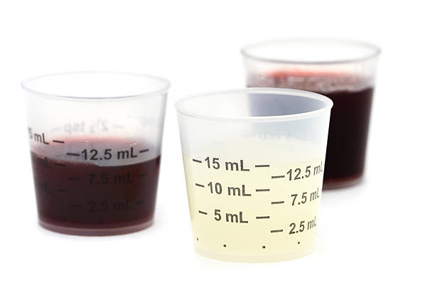 Doses of liquid medication stock photo