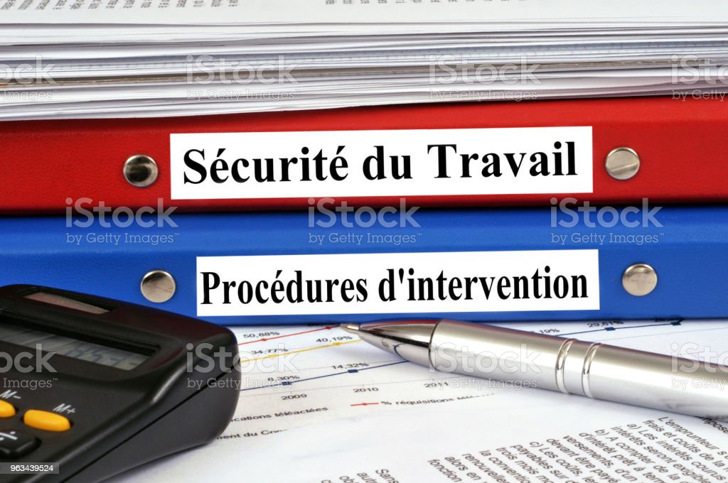 Dossier sécurité au travail et dossier procédures d'intervention - Zbiór zdjęć royalty-free (Akta)