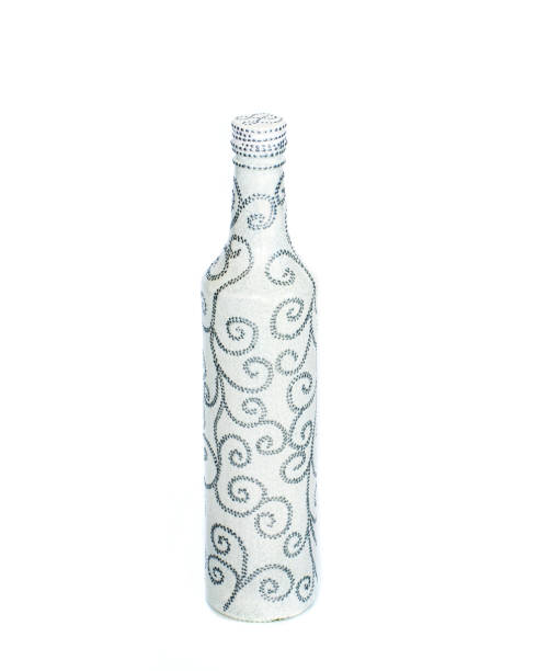 dot painting. bottle painted with paints. very nice decor. isolate. stock photo