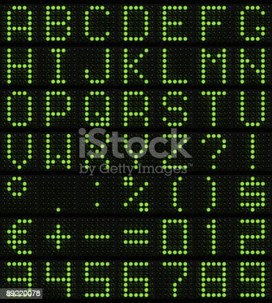 istock dot-matrix font 89220078