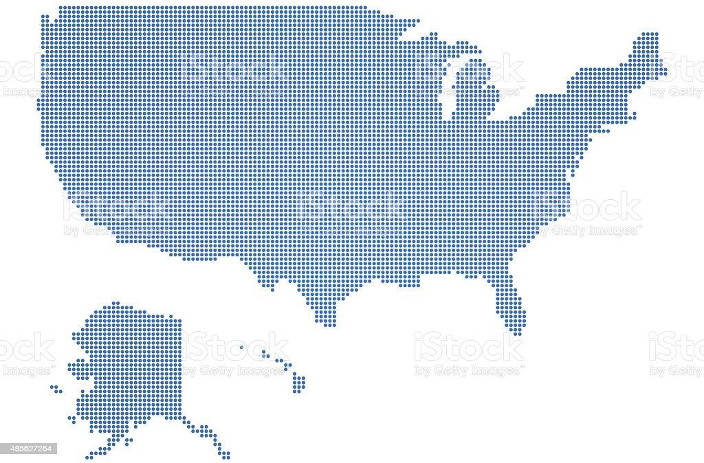 Dot-pixelated map of USA stock photo