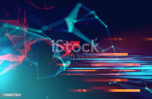 868434080 istock photo dots and lines connection on abstract technology background. 1056607844