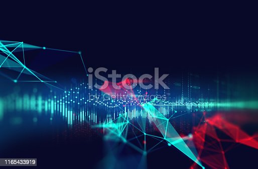 istock dots and lines connection on abstract technology background. 1165433919