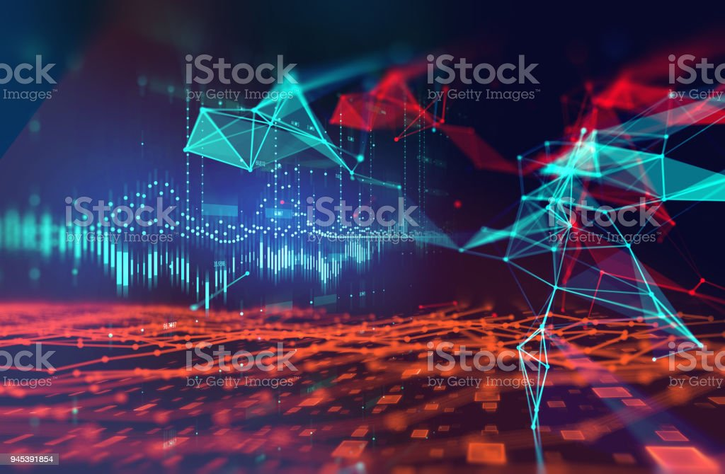dots and lines connection on abstract technology background. stock photo