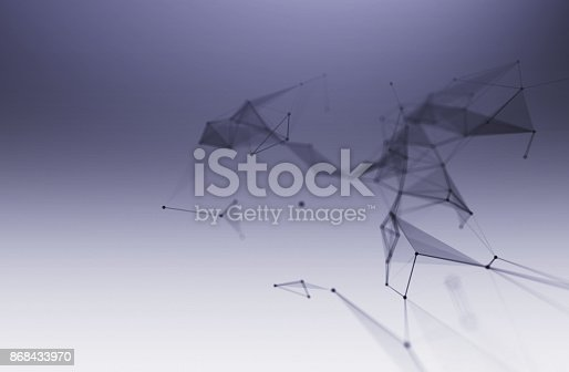 868434080 istock photo dots and lines connection on white abstract technology background. 868433970
