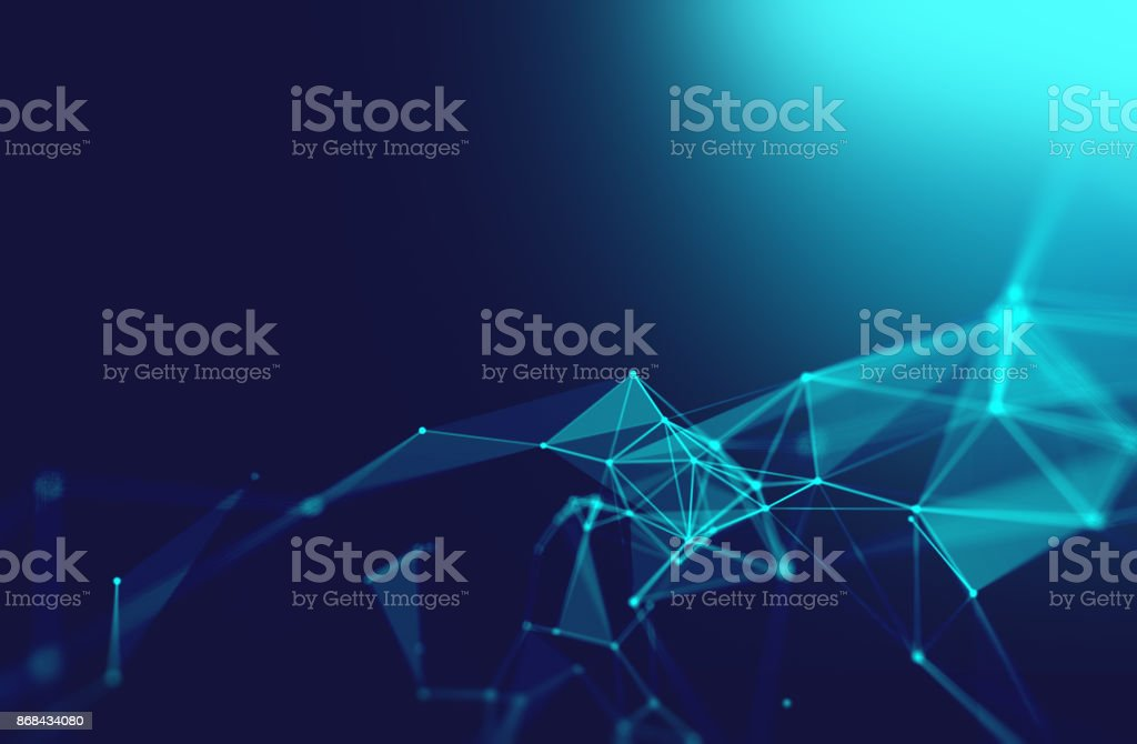 dots and lines connection on white abstract technology background. - foto stock