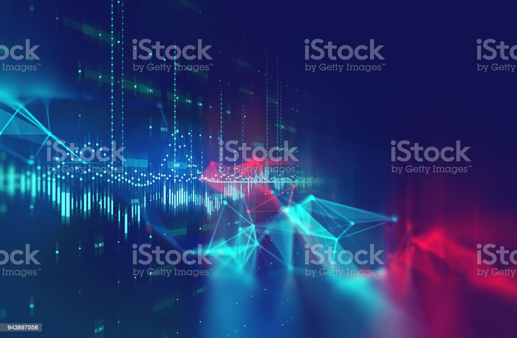 dots and lines connection on white abstract technology background. stock photo