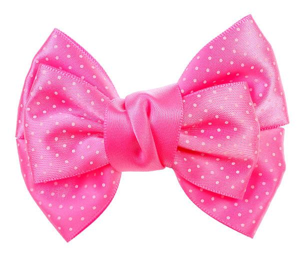 도티드 나비매듭 매다 분홍색, 흰색 반점 - 머리 리본 뉴스 사진 이미지