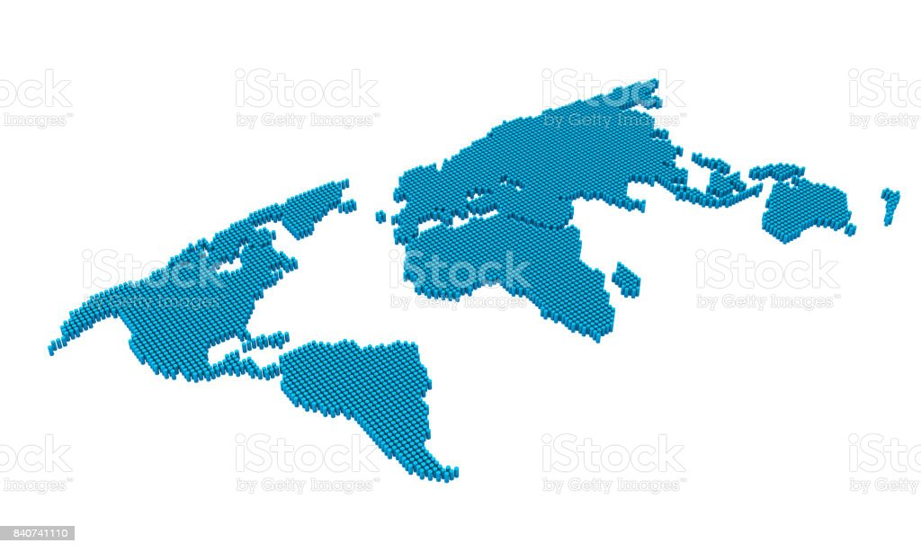 Map Australia 4074.Dotted Pixel World Map Isolated Stock Photo More Pictures Of