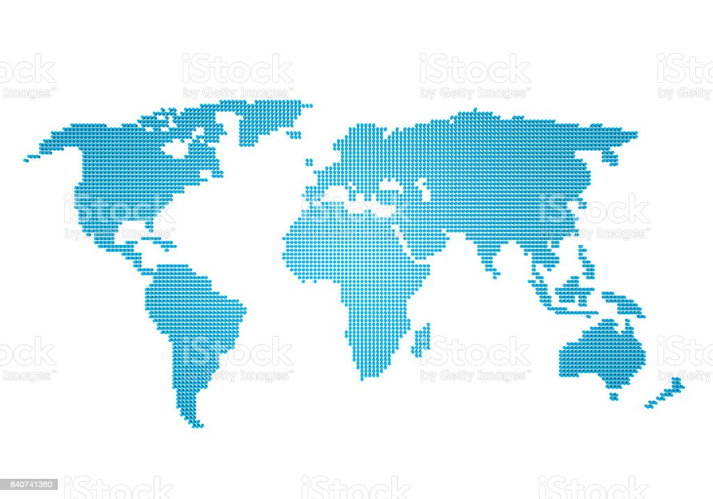 Dotted Pixel World Map Isolated Stock Photo More Pictures Of
