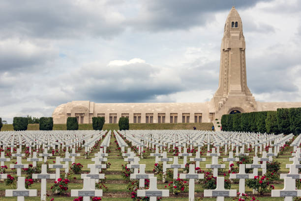 Douaumont ossuary and WW1 cemetery Verdun, France VERDUN, FRANCE - AUGUST 19, 2016: Douaumont ossuary and cemetery for First World War One soldiers who died at Battle of Verdun verdun stock pictures, royalty-free photos & images