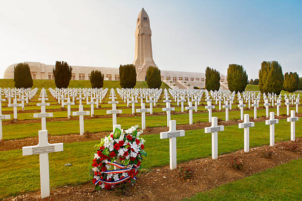 Douaumont Ossuary memorial and cemetery in Verdun Verdun, France - May 2, 2016: Memorial and national cemetery containing remains of French and German soldiers who died on the battlefield at Verdun during the World War I. verdun stock pictures, royalty-free photos & images