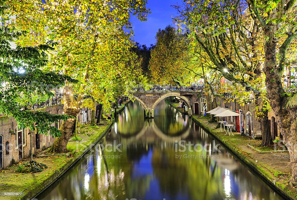 Double arc bridge across canal in the center of Utrecht stock photo