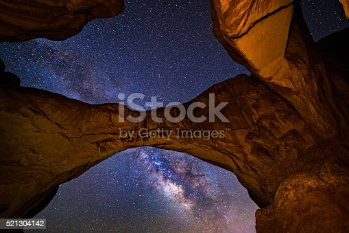 Double Arch Milky Way Galaxy Arches National Park Utah - Landscape scenic in icon national park of double arch formation with sky and stars above.  Arches National Park, Utah USA.
