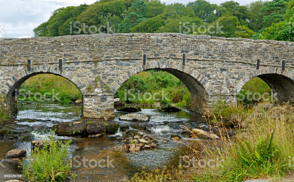 Double arched Bridge - Two Bridges in Dartmoor national park, Devon stock photo