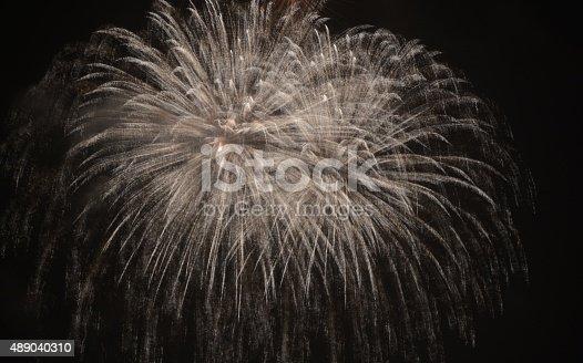 double fireworks burst at night
