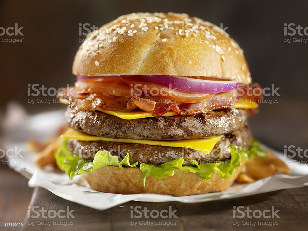 Double Bacon Cheeseburger stock photo