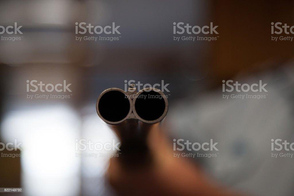 Double barrel shotgun stock photo