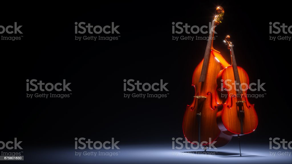 Double bass and cello in dark studio 3D rendering stock photo