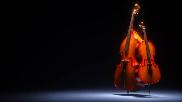 Double bass and cello in dark studio 3D rendering Double bass and cello in dark studio. 3d illustration string instrument stock pictures, royalty-free photos & images