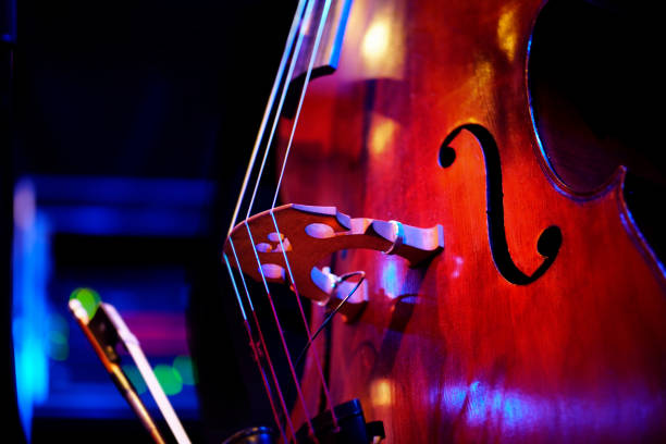 double bass on stage stock photo