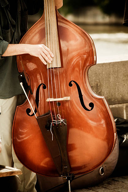 Double bass performing stock photo