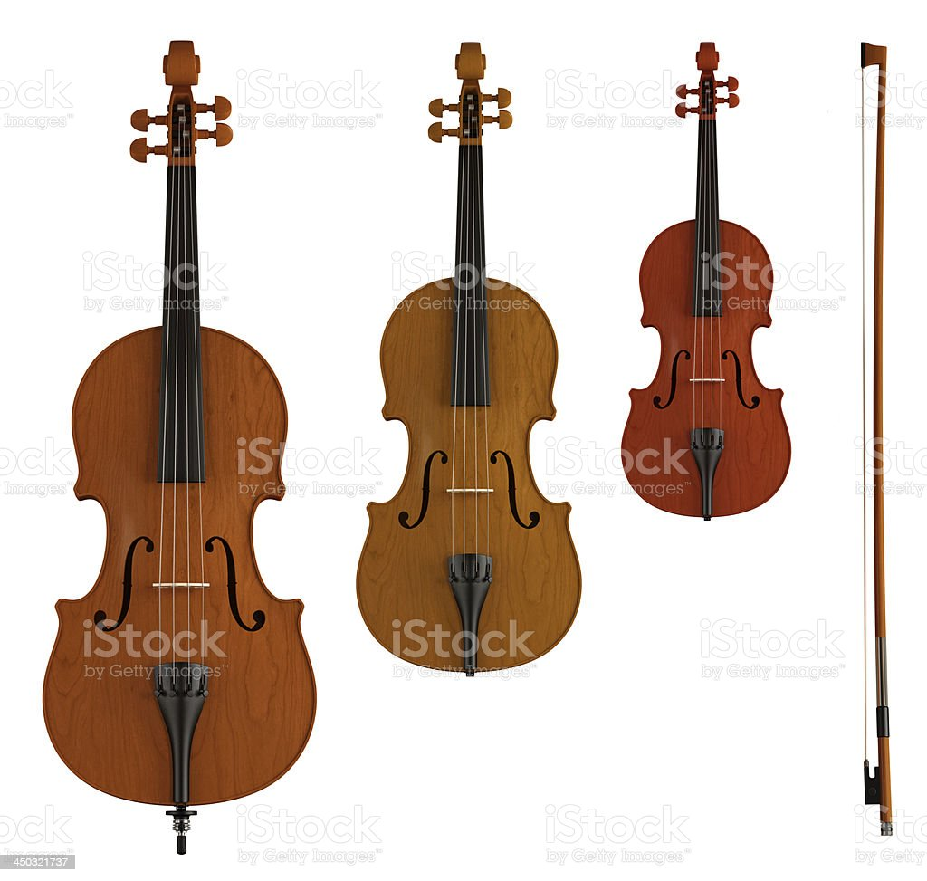 double bass, viola and violin stock photo