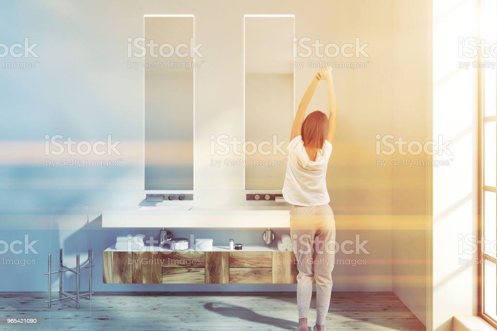 Double bathroom sink with two mirrors toned royalty-free stock photo
