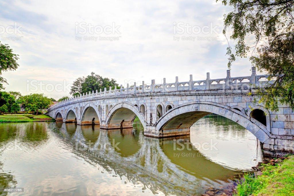Double Beauty Bridge in Jurong, Singapore stock photo