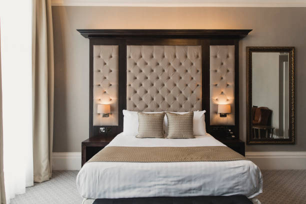 Double Bed in Hotel stock photo