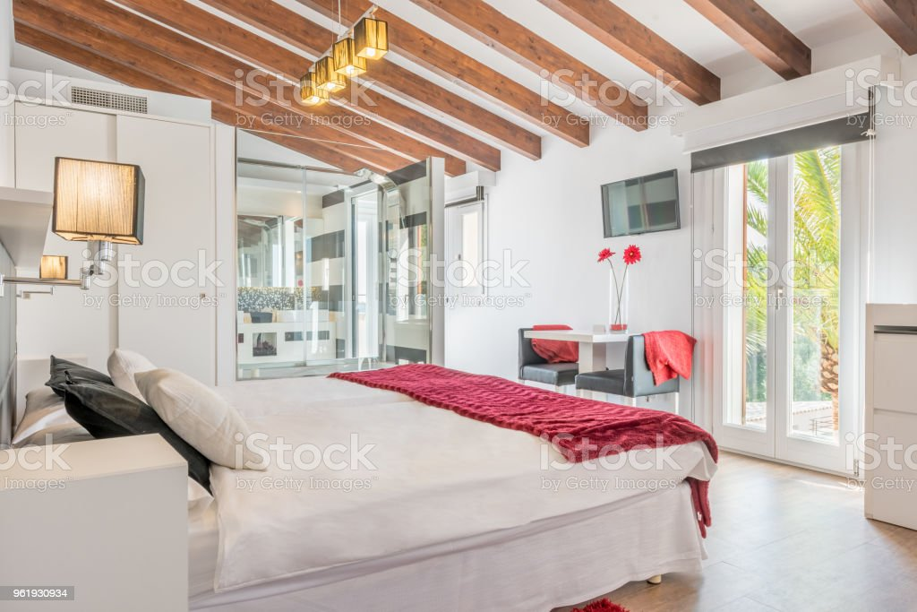 Double bed in luxury hotel stock photo