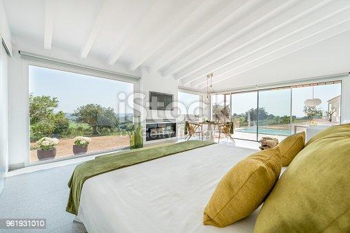 Double bed in luxury hotel in Majorca, Spain