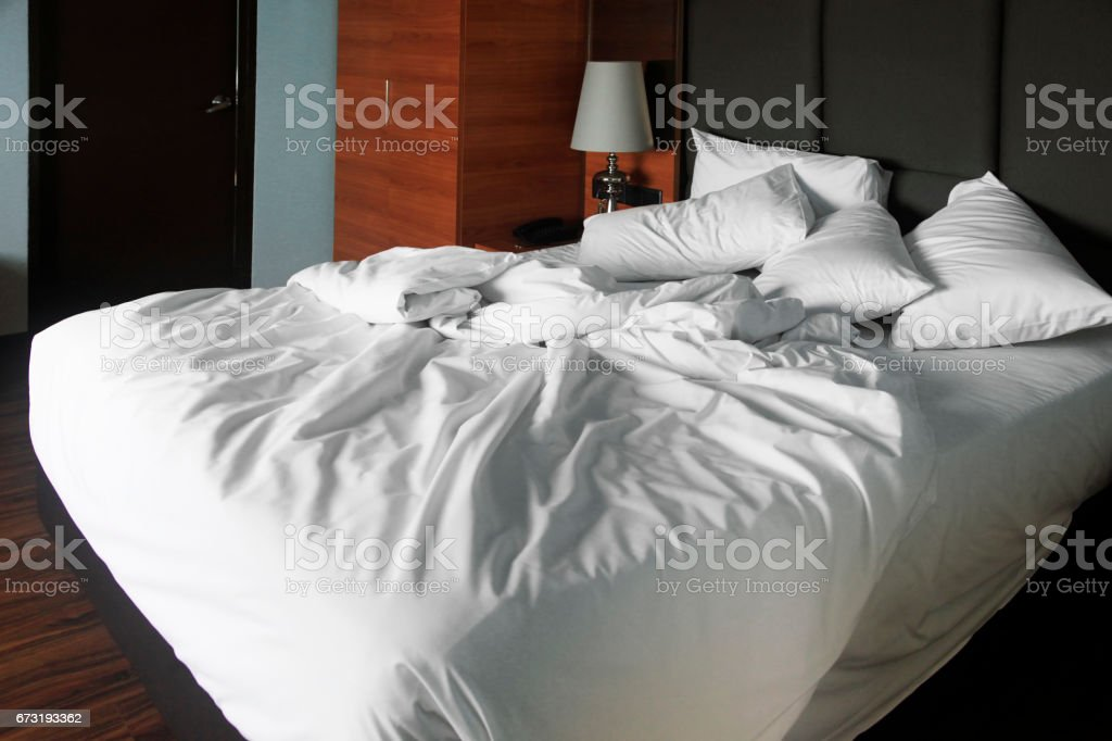 Double bed in the hotel room stock photo