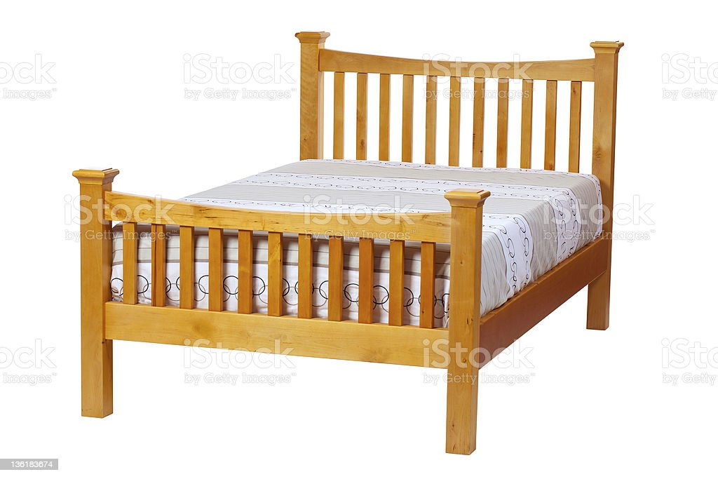 Double bed over white, with clipping path stock photo