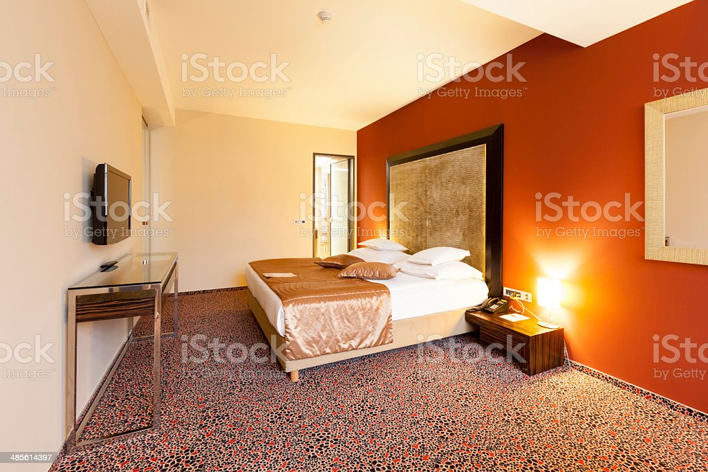 Double bed room in luxurious hotel royalty-free stock photo