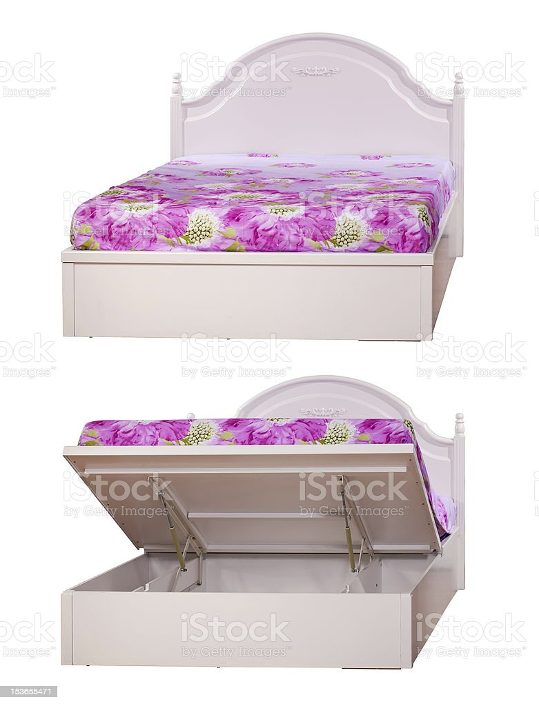 Double bed with lifting mechanism. Clipping path. royalty-free stock photo