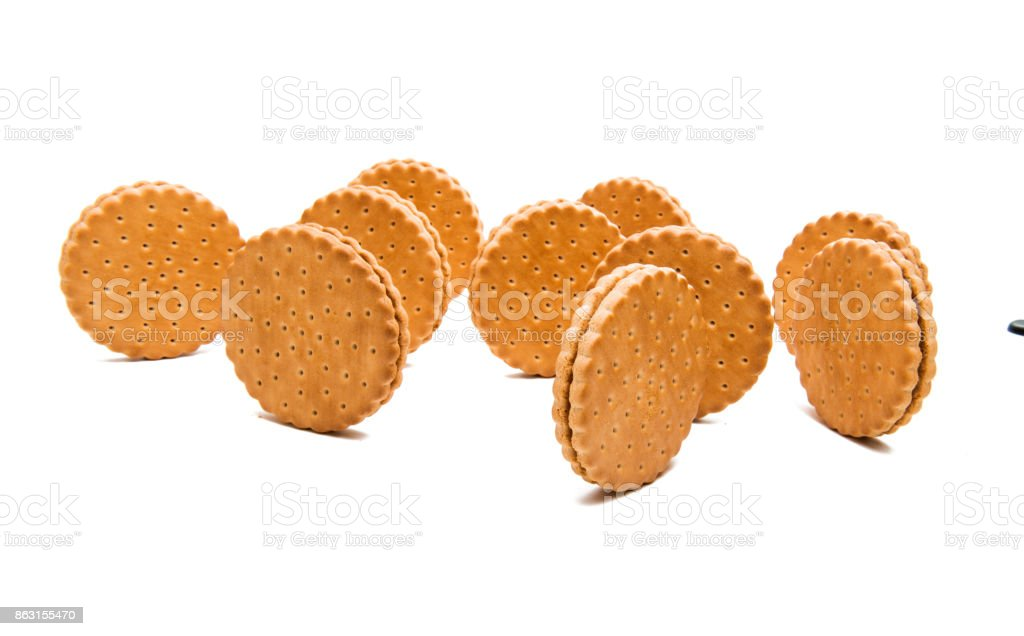 double biscuits with chocolate stock photo