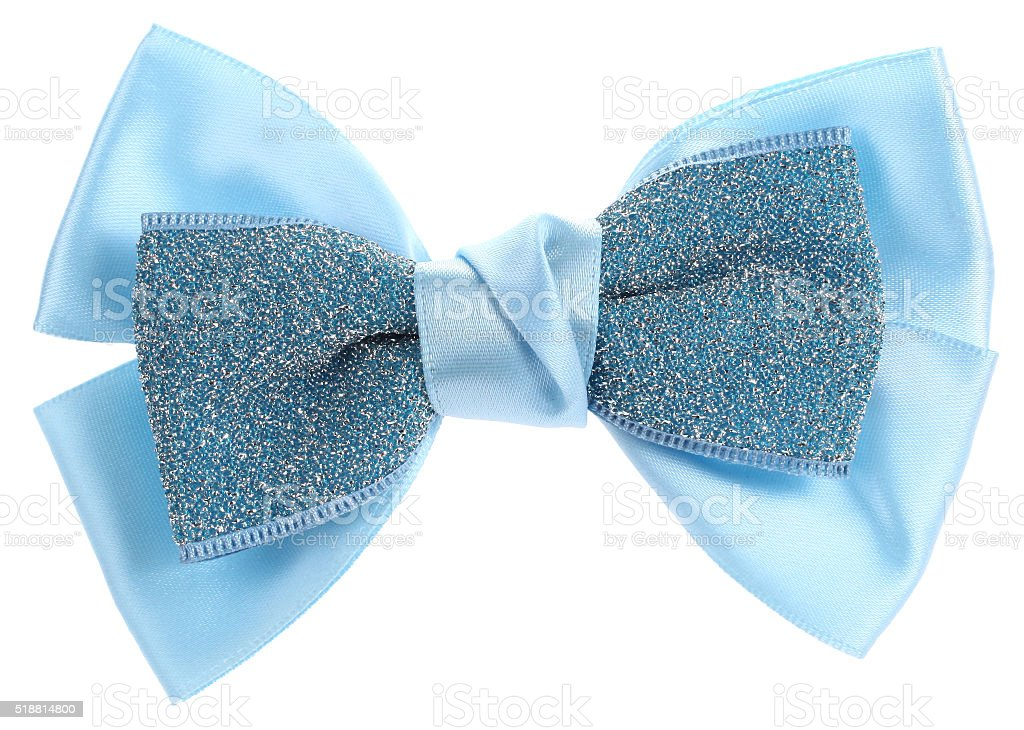 Double blue hair bow tie with sequins stock photo